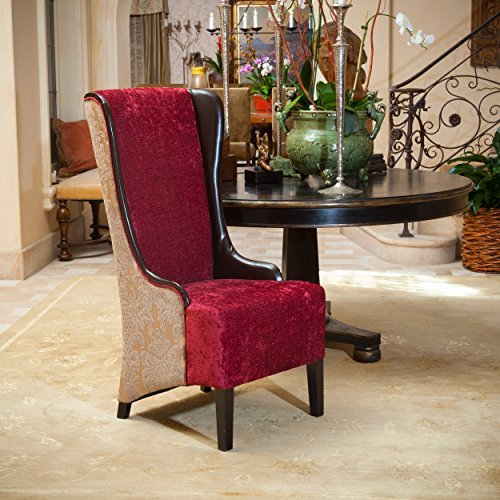 Christopher Knight Home Bacall High-Back Chair, Ruby / Chocolate Brown / Taupe