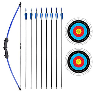 "SinoArt 45"" Recurve Bow and Arrow Set for Kids Archery with 8 Arrows Target Paper (Blue)"