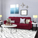 Baja Convert-a-couch Sofa Sleeper Bed Sofa Converts Into a Full-size Bed and Seats 3 Comfortably, Crimson Red