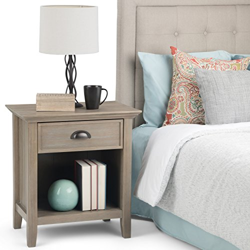 Simpli Home Acadian SOLID WOOD 24 inch Wide Rustic Bedside Nightstand Table in Distressed Grey