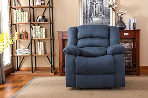 NHI Express Addison Large Contemporary Microfiber Recliner, Blue
