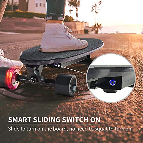 Spadger D5X Electric Skateboard, 20'' Electric Longoard, 12.5MPH Top Speed & 6.5 Miles Range, 150W Motor with 70MM PU Wheel, 10LBS Load up to 220LBS, Built-in LED Light with Remote Control