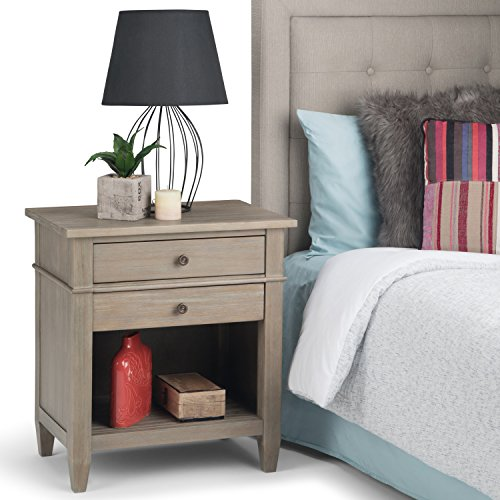 Simpli Home Carlton SOLID WOOD 24 inch Wide Contemporary Bedside Nightstand Table in Distressed Grey