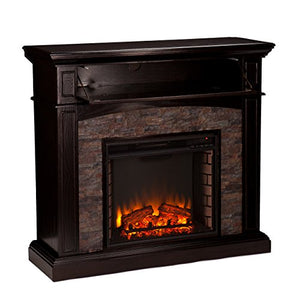 Southern Enterprises Grantham Faux Stone Corner Electric Media Fireplace, Ebony Finish