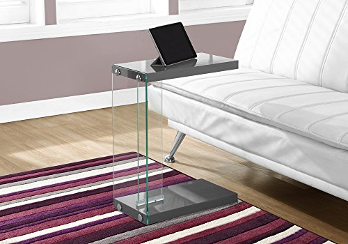 Monarch Specialties , C Table - Tempered Glass Accent Table, Glossy Gray C-Table