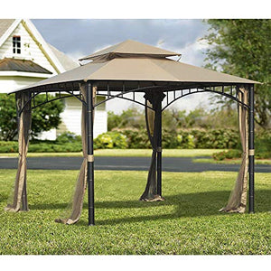 Sunjoy 110109156 Original Replacement Canopy for Madaga Havana Gazebo (10X10 Ft) L-GZ136PST-2/7/9 Sold at Target, Khaki