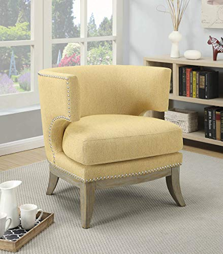 Coaster Home Furnishings Accent Chair with Barrel Back Yellow and Weathered Grey