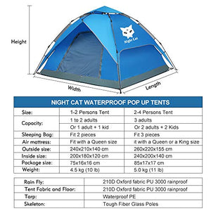 Night Cat Waterproof Camping Tent for 1 2 Person with Footprint Tarp Easy Instant Pop Up Tent Automatic Hydraulic Rainproof Tent with Rain Fly