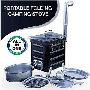 VidaLibre Camping Stove �Portable Outdoor Wood Burning Folding Camp Stove for Outdoor, Camping, Hiking, Fishing, Hunting, RV, Emergency Preparedness - Portable Camping Grill - BBQ Rocket Stove