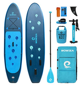 "WOWSEA Waterdrop Inflatable Stand Up Paddle Board | 10' Long x 31"" Wide x 6"" Thick 