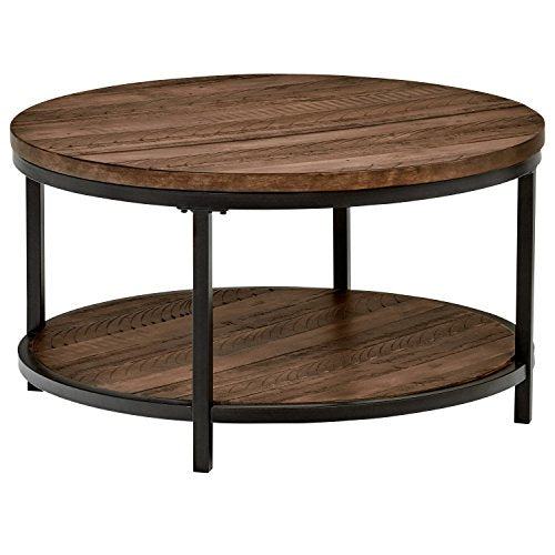 Amazon Brand �Stone & Beam Larson Industrial Wood & Metal Round Coffee Table, 33