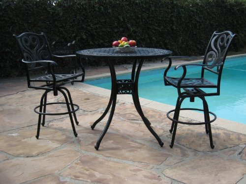 Outdoor Patio Furniture Cast Aluminum 3 Piece Bar Stool Table Set with 2 Arm Swivel Chairs Cbm1290