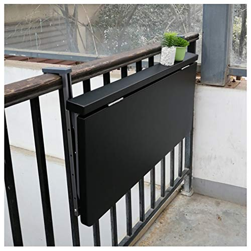 Balcony Railings Hanging Folding Table Dining Table Leisure Table, Not Easy to Rust, Can Be Placed Outdoors for A Long Time, The Height of The Porous Position is Adjustable