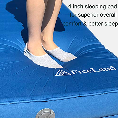 FreeLand 3D Self Inflating Camping Sleeping Pad with 4 Inches Thickness for Travel, Car Camping and Tent, Blue Color