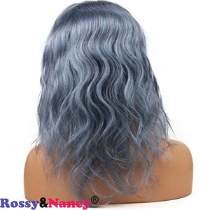 Rossy&Nancy Gray Lace Front Human Hair Wigs for Black Women Brazilian Virgin Hair Wavy Glueless Grey Free Part Wigs with Baby Hair