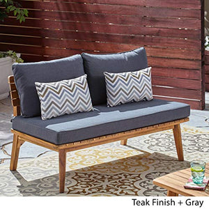 Christopher Knight Home 306424 Boyle Outdoor Acacia Wood Loveseat, Teak Finish/Gray