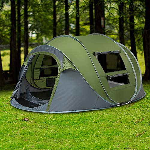 Pop Up Tents 4 Person, Instant Automatic 3-4 Person Family Camping Tents Easy Quick Setup Dome Popup Tents for Camping, Hiking and Traveling with Carrying Bag (Army Green)
