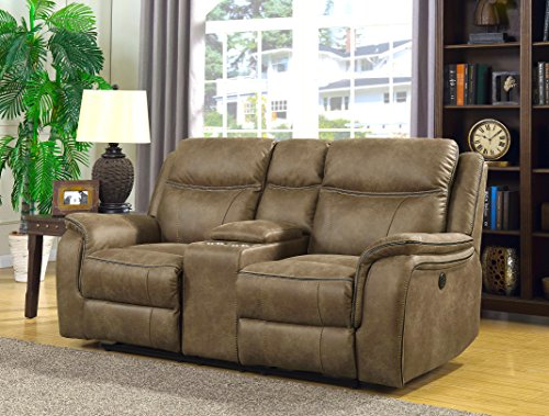 "MorriSofa Cameron Dual Reclining Loveseat with Power Adjustable Headrests, 75.25"" x 39"" x 40"", Brown"
