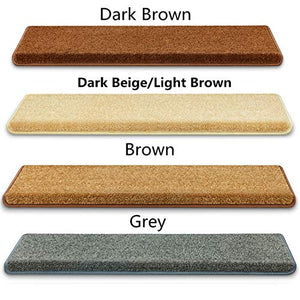 "Carpet Stair Treads – Non-Slip Bullnose Carpet for Stairs – Indoor Stair Pads – Self-Adhesive & Easy Installation – Pet & Child Friendly – Skid Resistant & Washable – 14- Pack Brown 10"" x 30""x 1.3"""