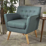 Christopher Knight Home Meena Mid-Century Modern Fabric Club Chair, Dark Teal / Natural