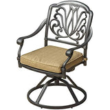 Cast Aluminum 9 Piece Outdoor Dining Set with Fire Pit Table and Swivel Rocker Chairs Sunbrella Seat Cushions.