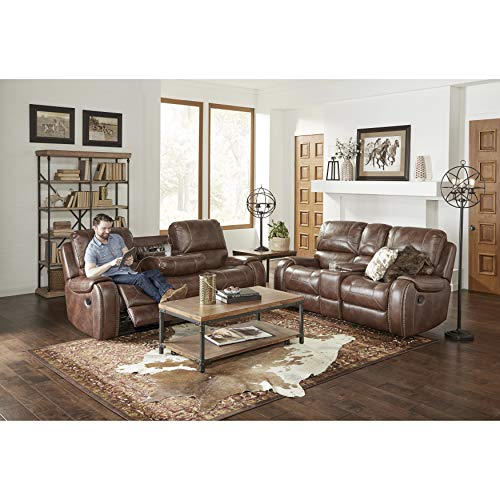 Roundhill Furniture Achern Brown Leather-Air Nailhead Manual Reclining Sofa and Loveseat with Storage Console and USB Port