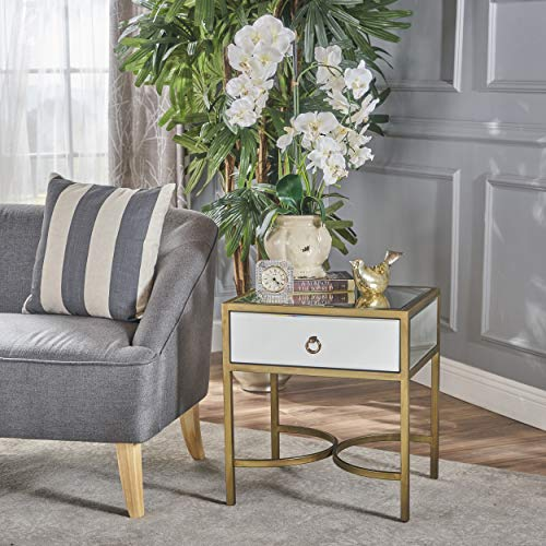 Christopher Knight Home Siryen Modern Mirror Finished Side Table with Gold Iron Accents, Clear / Gold