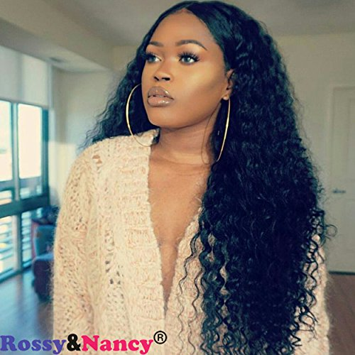Rossy&Nancy 250 High Density Pre Plucked Glueless Lace Front Human Hair Wigs Deep Wave Free Part Wig with Baby Hair for Black Women