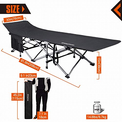 "KingCamp Camping Cot Oversized for Adults 30"" Wide 440 lbs Capacity, XXL Heavy Duty Folding Sleeping Bed Aluminum Frame with 1200D Jacquard Oxford Fabric for Indoor & Outdoor"