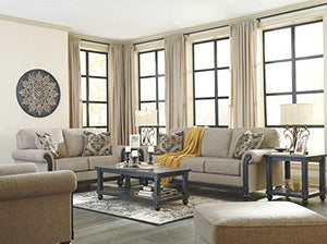 Ashley Blackwood Stationary Fabric Sofa with Rolled Arms Loose Seat Cushions and Pillows, Taupe