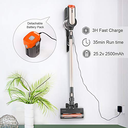 Womow Cordless Vacuum Cleaner, 25Kpa 400W Digital Motor Powerful Stick Vacuum, Rechargeable Battery Powered Pet Hair Vacuum, Portable 2 in 1 Handheld Vacuum Cleaner for Hard Floor Stairs Car, W20
