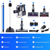 Kismom Cordless Vacuum Cleaner, 22KPa Powerful Suction Stick Vacuum, Lightweight Handheld Versitile Vacuum with Digital Motor 2 Lithium Batteries 4 LED Brush Heads Washable HEPA Filtration