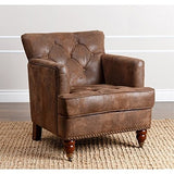 Abbyson Living Misha Tufted Fabric Accent Chair in Antique Brown