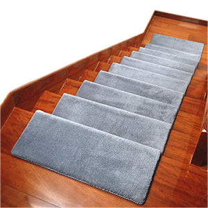"Carpet Stair Treads Anti Slip Stair Mats Made of Cotton and Fiber Self-Adhesive & Easy Installation Safety Slip Resistant for Kids, Elders, and Dogs(30""x 10x1.3"") �14pec, Grey)"