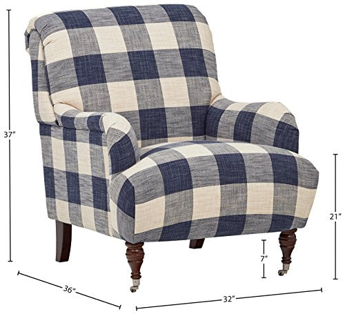 "Amazon Brand – Stone & Beam Cameron Classic Oversized Arm Chair, 32""W, Indigo"