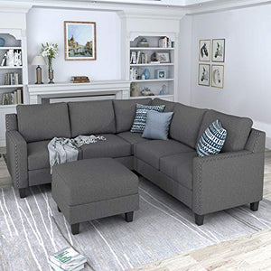 MERITLINE Sectioanl Sofa with Ottoman, Fabric L-Shaped Sectioanl Sofa Living Room Couch Set of 4 (Nail Trim-Grey)