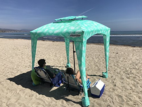 EasyGo Cabana - 6' X 6' - Beach & Sports Cabana Keeps You Cool and Comfortable. Easy Set-up and Take Down. Large Shade Area. More Elegant & Classier Than Beach Umbrella (Pineapple)