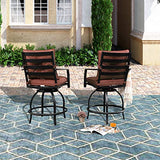 PatioFestival Swivel Bar Stools Patio Height Bistro Chairs Set of 2 PCS Outdoor Conversation Sectional with Armrest,All Weather Steel Frame(2 Chairs)