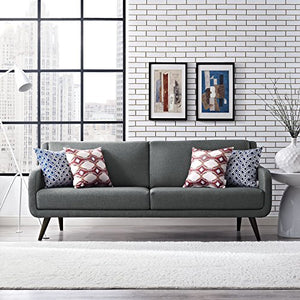 Modway Verve Upholstered Fabric Mid-Century Sofa, Gray