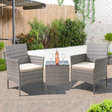 Tozey Furniture Outdoor Patio Sets PE Rattan Wicker Conversation Set with Table Backyard Porch Garden Poolside Balcony 3 Pieces (Grey)