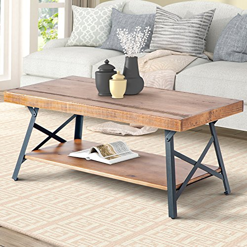 "Harper&Bright Designs 43"" Lindor Collection Wood Coffee Table with Metal Legs,Living Room Set/Rustic Brown, 43.3""L x 21.65""W x 18.34""H"