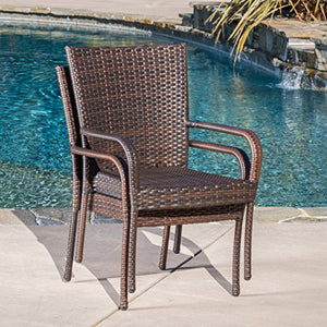 Christopher Knight Home CKH Outdoor Wicker Stackable Club Chairs, 2-Pcs Set, Multibrown