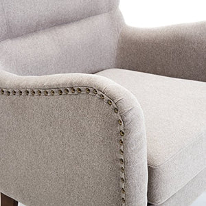BELLEZE Mid-Century Wingback Chair Nailhead Trim Living Room Arm Club Armchair High Back Cushion, Gray