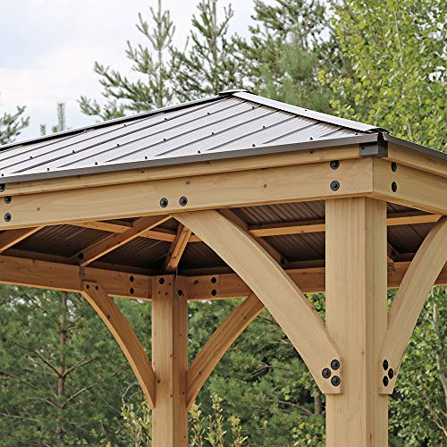 Yardistry 10' x 10' Wood Gazebo with Aluminum Roof