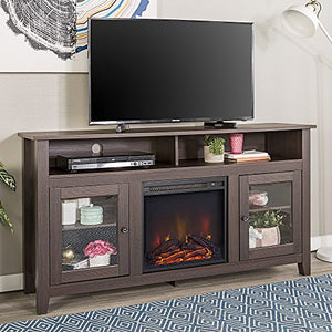 Home Accent Furnishings Lucas 58 Inch Highboy Fireplace Television Stand in Espresso