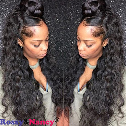 Rossy&Nancy 300% High Density Brazilian Human Hair Glueless Lace Front Wigs for Women Loose Deep Curly Wave Wig Unprocessed Virgin Human Hair Wig with Baby Hair Natural Black Color