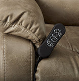 Signature Design by Ashley Barling Power Recliner Adjustable Headrest Mushroom
