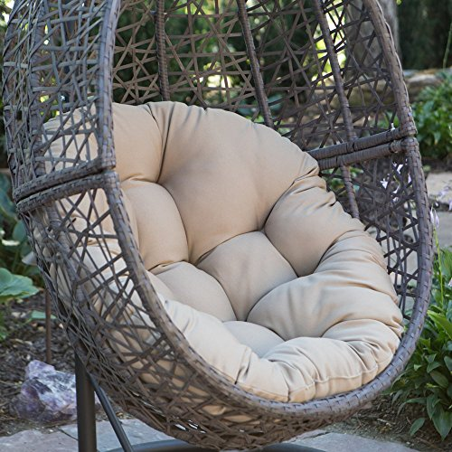 Resin Wicker Hanging Egg Chair Outdoor Patio Furniture with Cushion and Stand, Steel Frame, Espresso