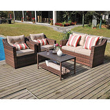 SUNSITT 4-Piece Patio Conversation Set All Weather Woven Brown Wicker Furniture Beige Cushions & Coffee Table w/Aluminum Top
