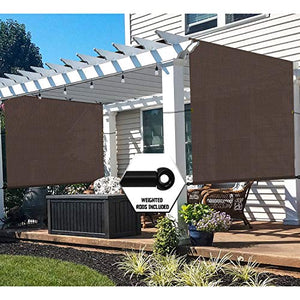 TANG 12'x12' Brown Outdoor Sun Shade Panel Universal Pergola Replacement Cover Canopy with Grommets Weight Rods Sun Block Cover for Patio Backyard